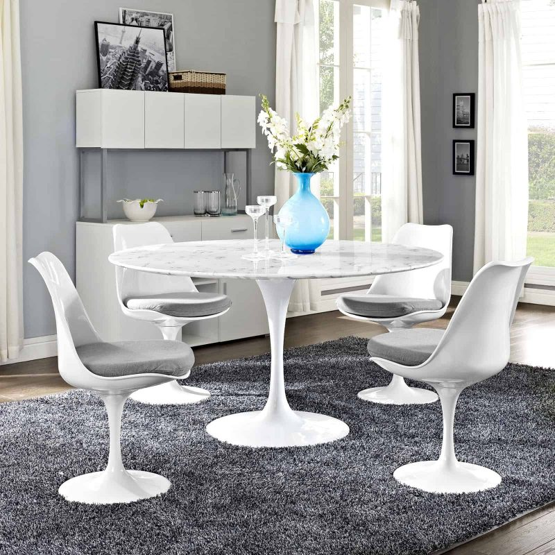 """Lippa 54"""" Round Artificial Marble Dining Table in White"""