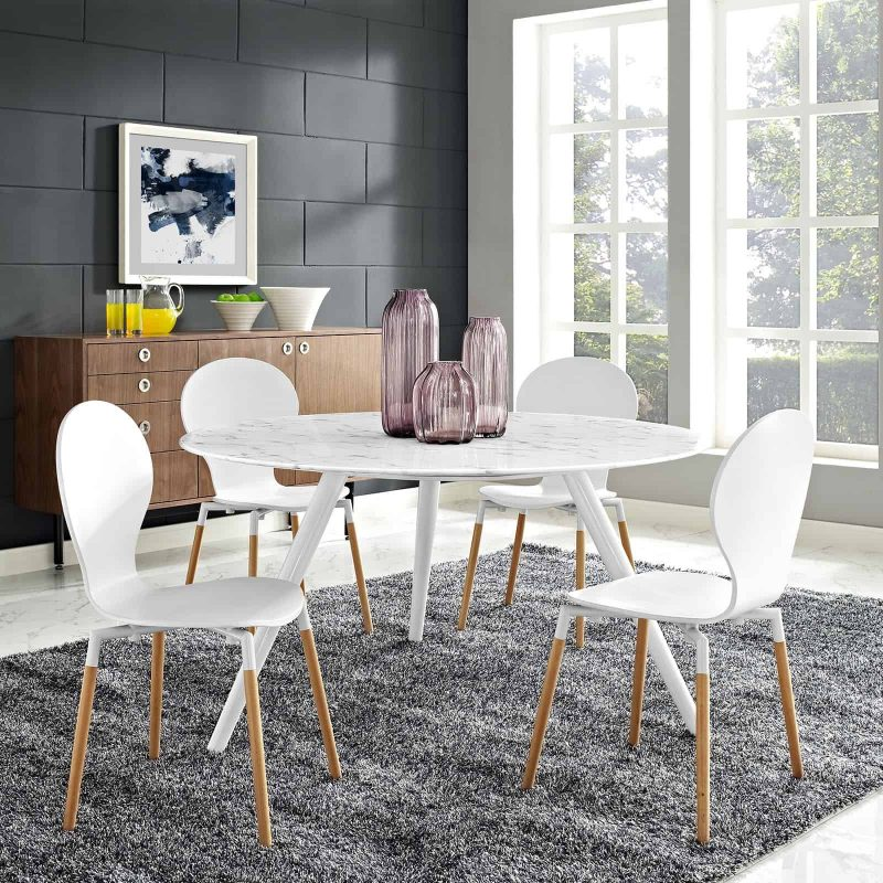 """Lippa 54"""" Round Artificial Marble Dining Table with Tripod Base in White"""
