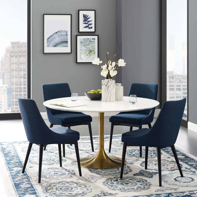 """Lippa 54"""" Round Wood Dining Table in Gold White"""