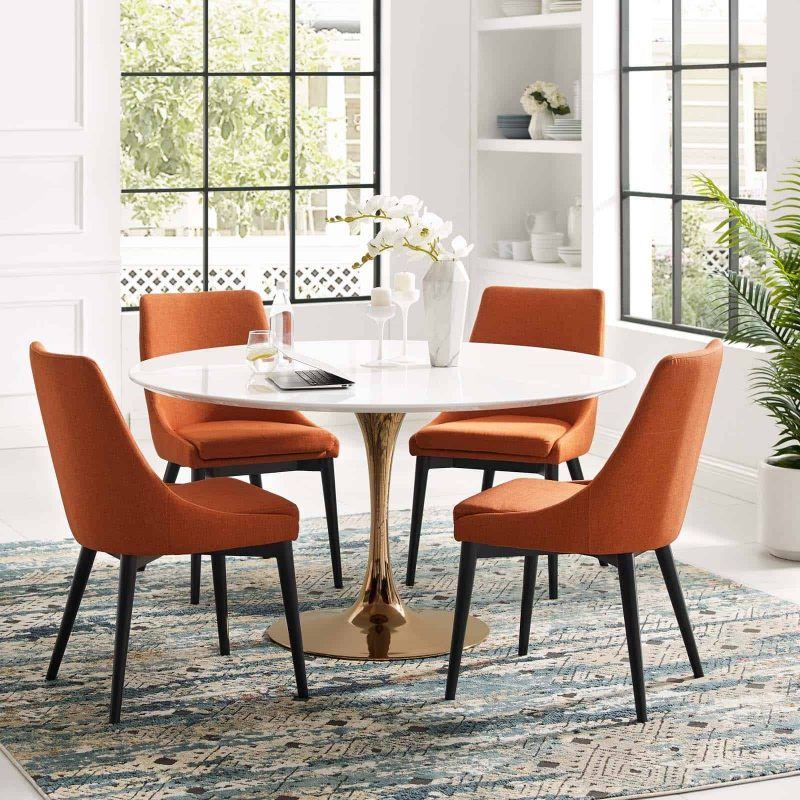 """Lippa 54"""" Round Wood Dining Table in Rose White"""
