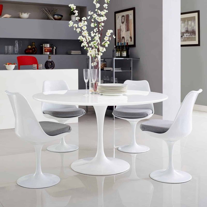 "Lippa 54"" Round Wood Top Dining Table in White"