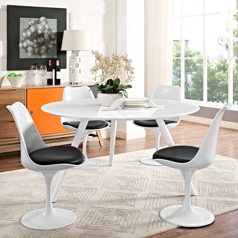 """Lippa 54"""" Round Wood Top Dining Table with Tripod Base in White"""