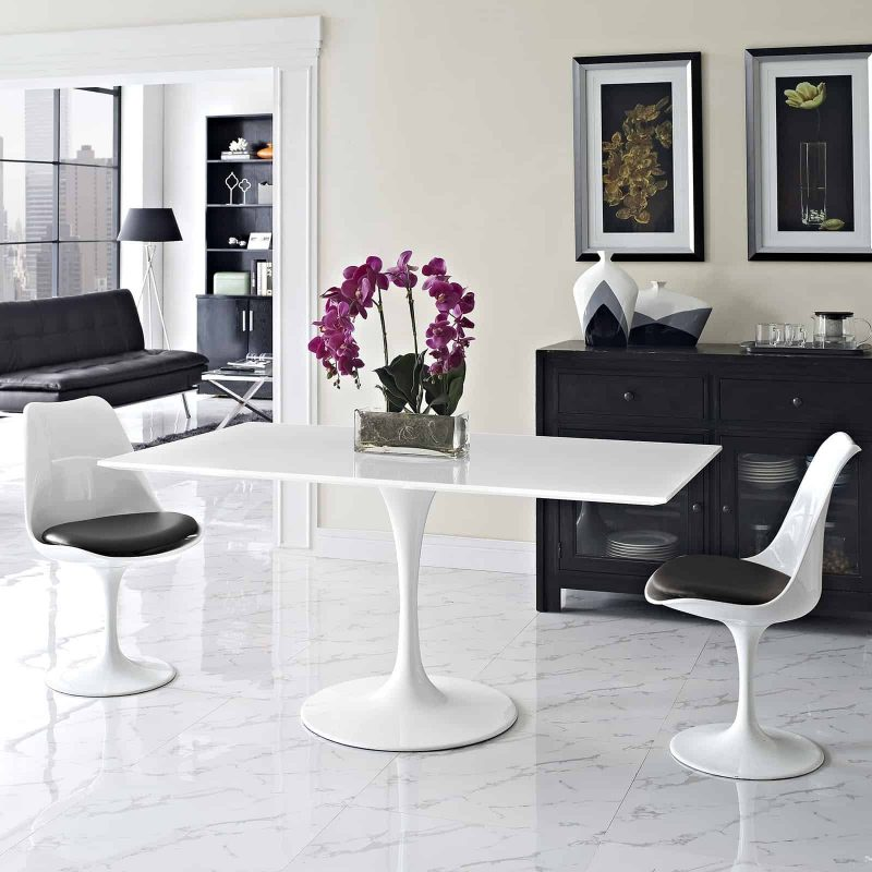 """Lippa 60"""" Rectangle Wood Dining Table in White"""