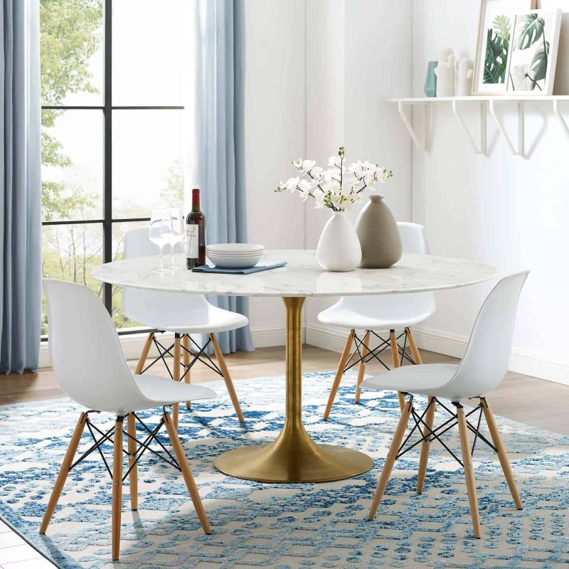 "Lippa 60"" Round Artificial Marble Dining Table in Gold White"