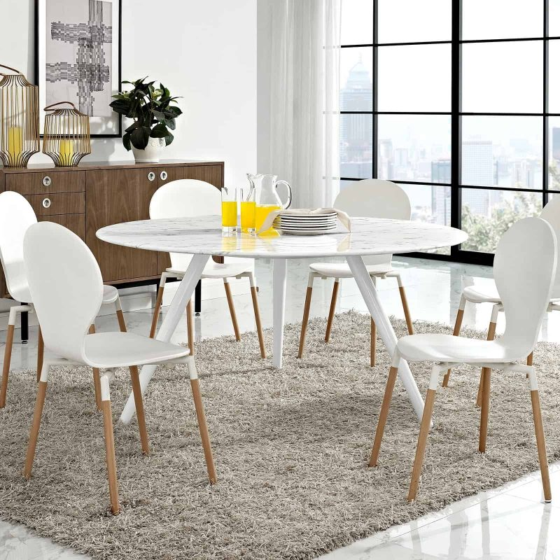 "Lippa 60"" Round Artificial Marble Dining Table with Tripod Base in White"