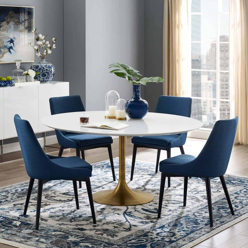 """Lippa 60"""" Round Wood Dining Table in Gold White"""
