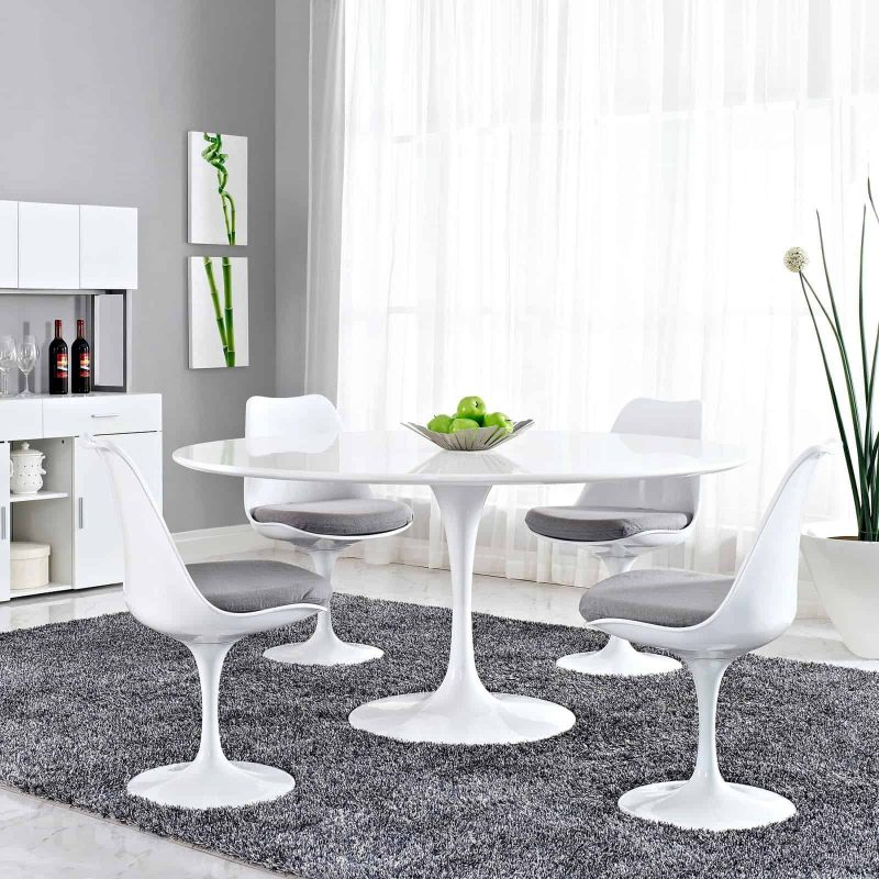 """Lippa 60"""" Round Wood Top Dining Table in White"""