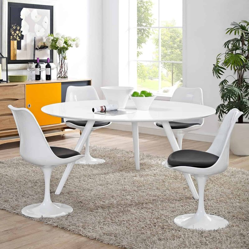 """Lippa 60"""" Round Wood Top Dining Table with Tripod Base in White"""