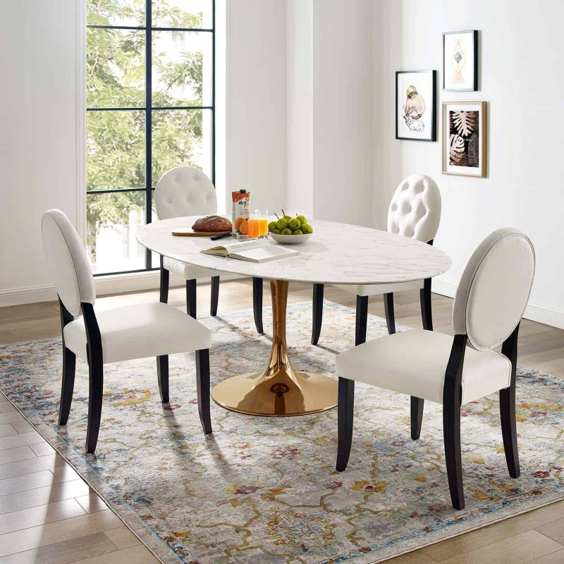 """Lippa 78"""" Oval Artificial Marble Dining Table in Rose White"""