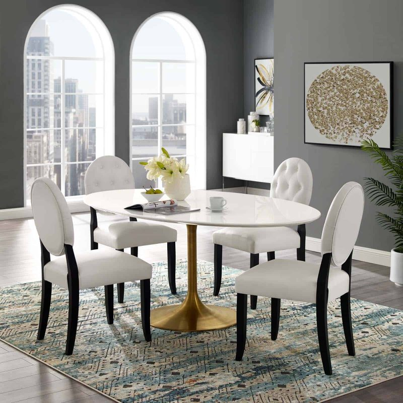 """Lippa 78"""" Oval Wood Dining Table in Gold White"""