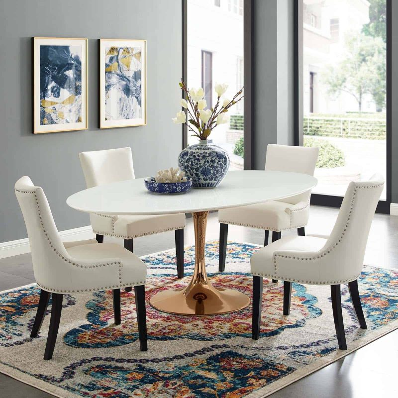 """Lippa 78"""" Oval Wood Dining Table in Rose White"""