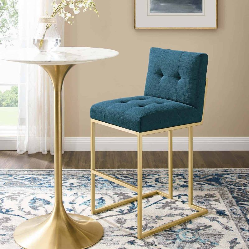Privy Gold Stainless Steel Upholstered Fabric Bar Stool in Gold Azure