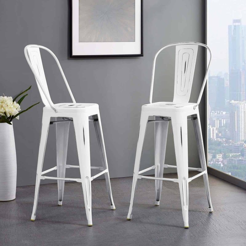 Promenade Metal Bar Side Stool in White