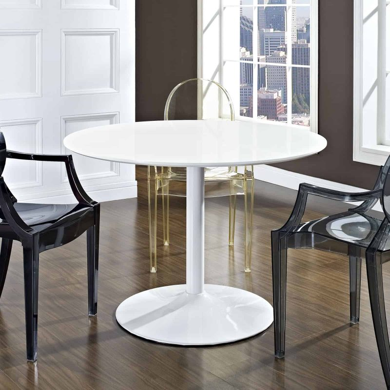 Revolve Round Wood Dining Table in White
