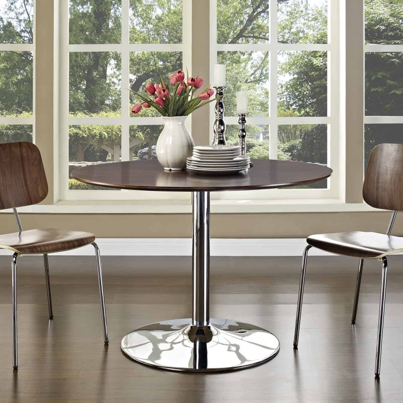Rostrum Round Wood Top Dining Table in Walnut