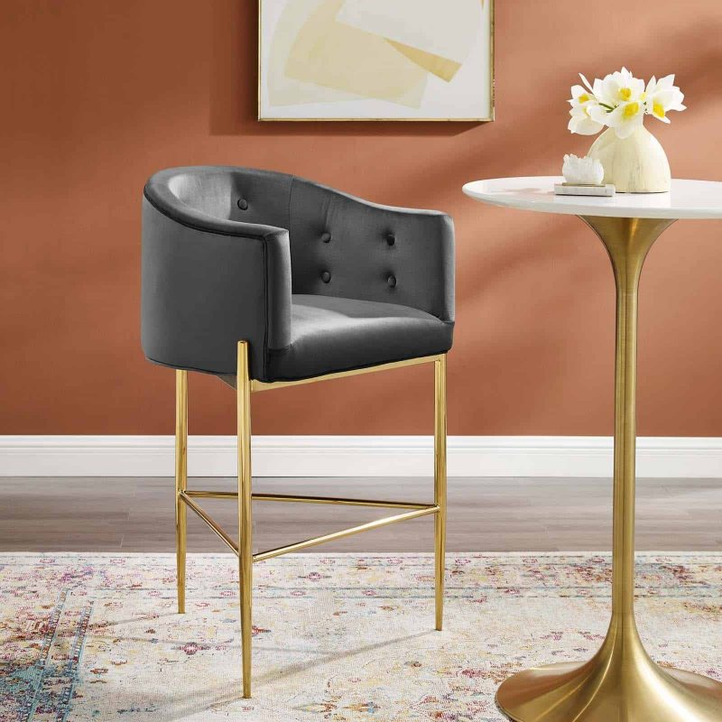 Savour Tufted Performance Velvet Bar Stool in Charcoal