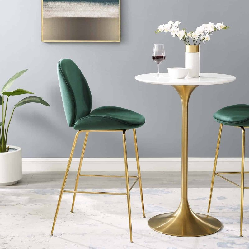 Scoop Gold Stainless Steel Leg Performance Velvet Bar Stool in Green