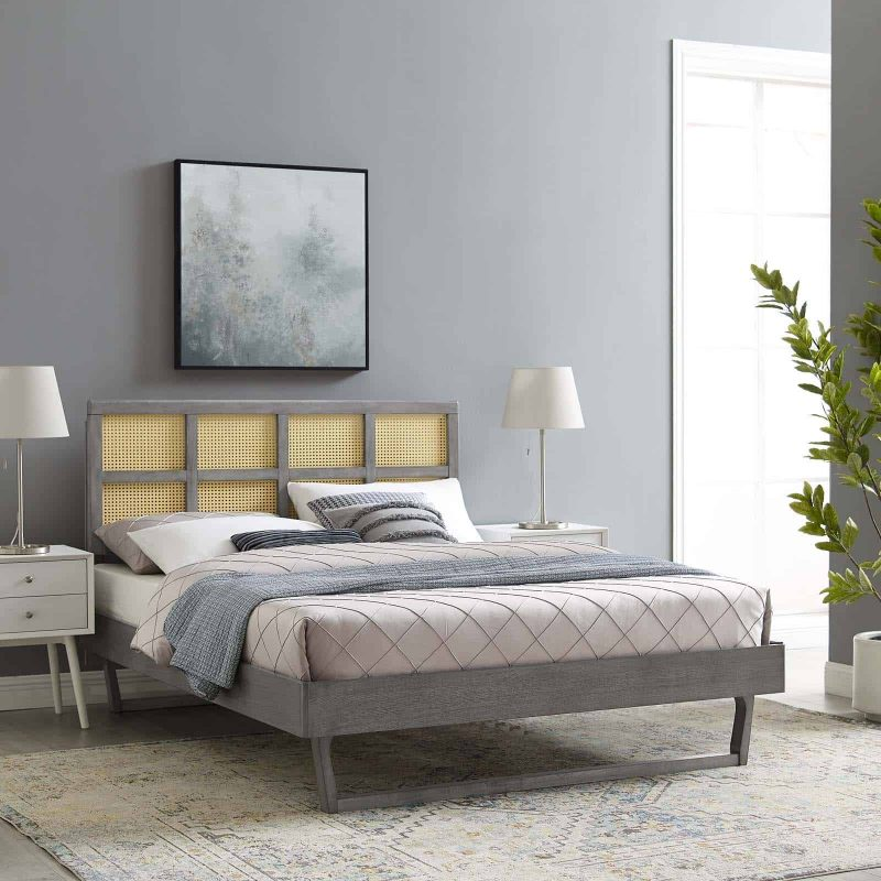 Sidney Cane and Wood Full Platform Bed With Angular Legs in Gray