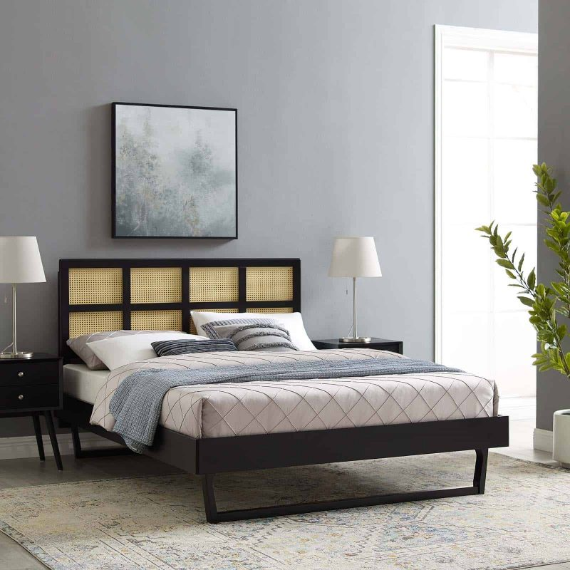 Sidney Cane and Wood Queen Platform Bed With Angular Legs in Black