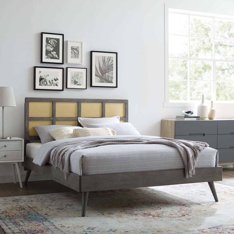 Sidney Cane and Wood Queen Platform Bed With Splayed Legs in Gray