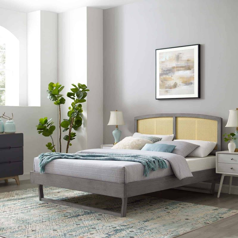 Sierra Cane and Wood Full Platform Bed With Angular Legs in Gray