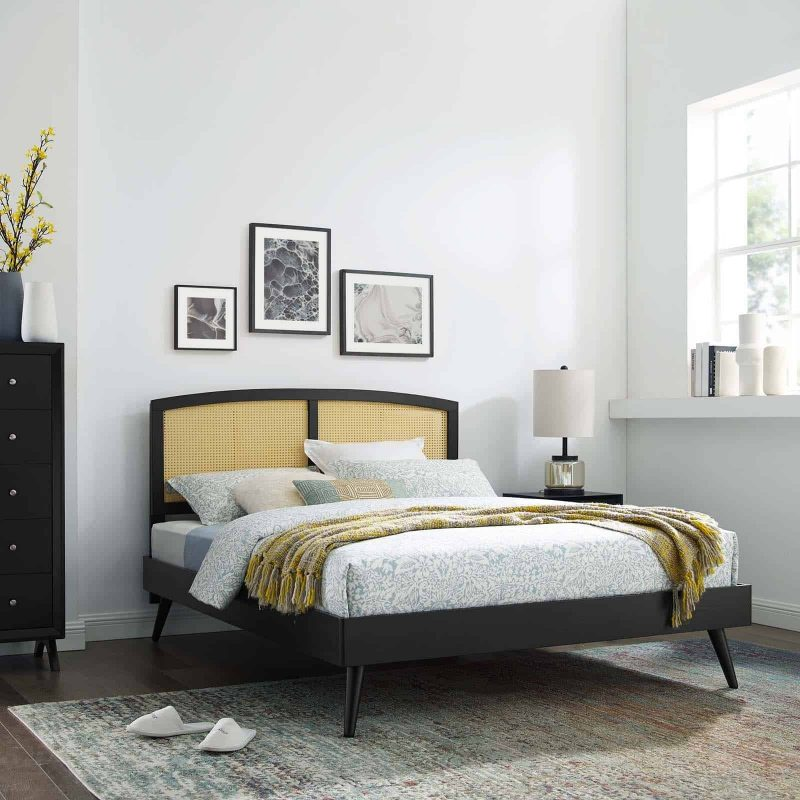 Sierra Cane and Wood Full Platform Bed With Splayed Legs in Black