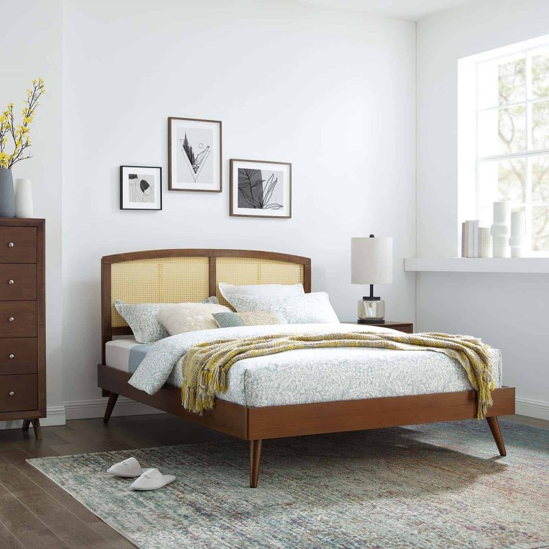 Sierra Cane and Wood Full Platform Bed With Splayed Legs in Walnut