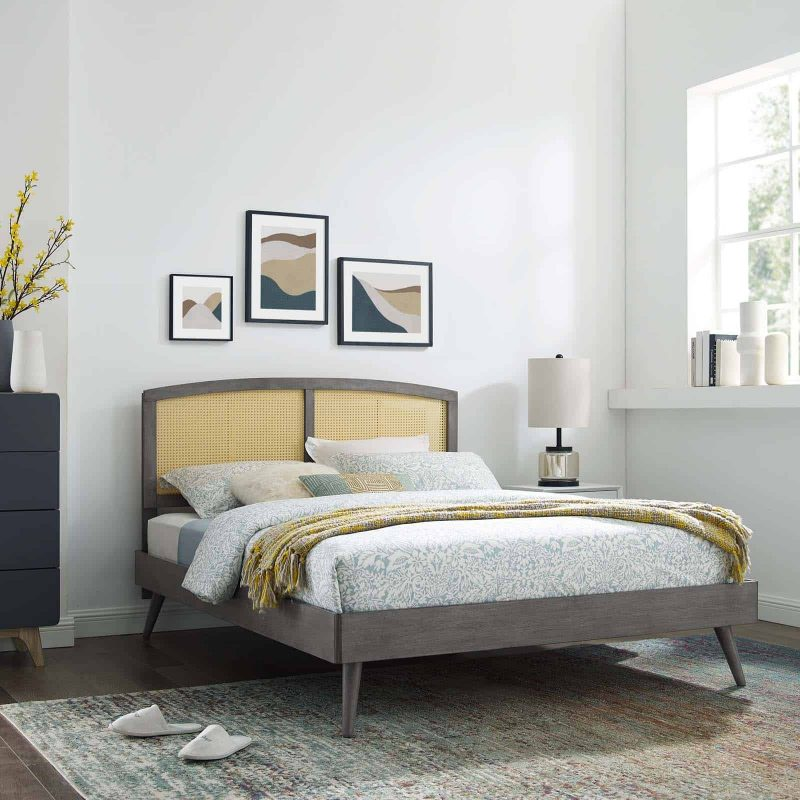 Sierra Cane and Wood King Platform Bed With Splayed Legs in Gray