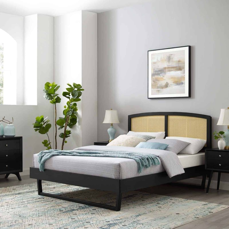 Sierra Cane and Wood Queen Platform Bed With Angular Legs in Black