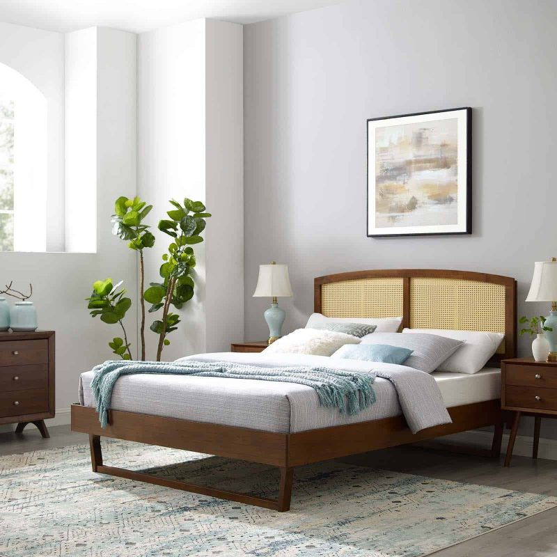 Sierra Cane and Wood Queen Platform Bed With Angular Legs in Walnut