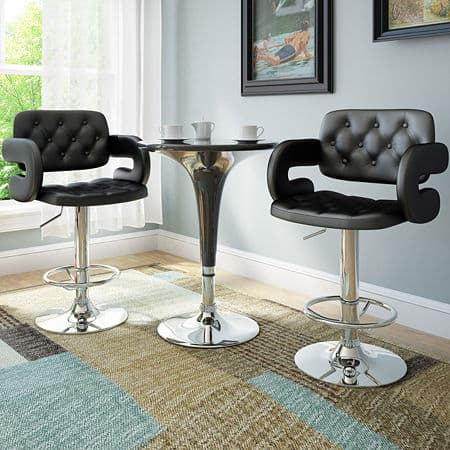Tufted Adjustable 2-pc. Tufted Bar Stool, One Size , Black