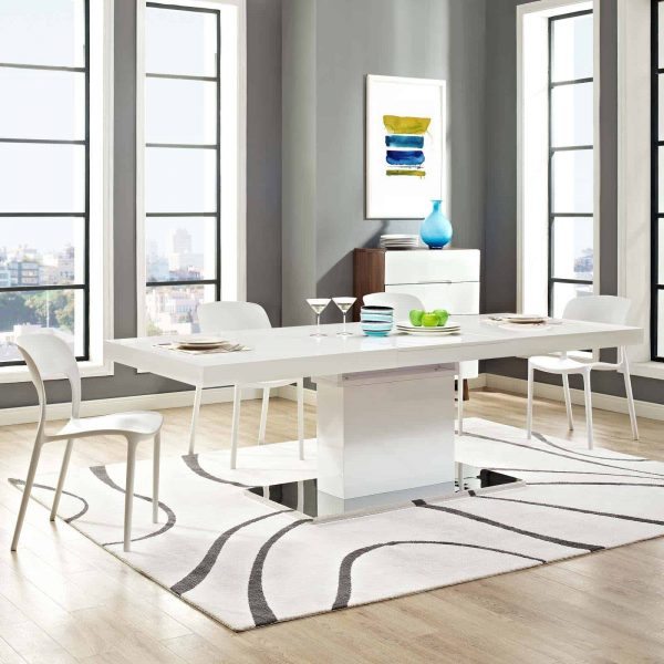 Vector Expandable Dining Table in White Silver