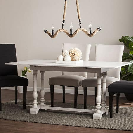Wooden Door Kitchen Folding Trestle Console to Dining Table, One Size , White