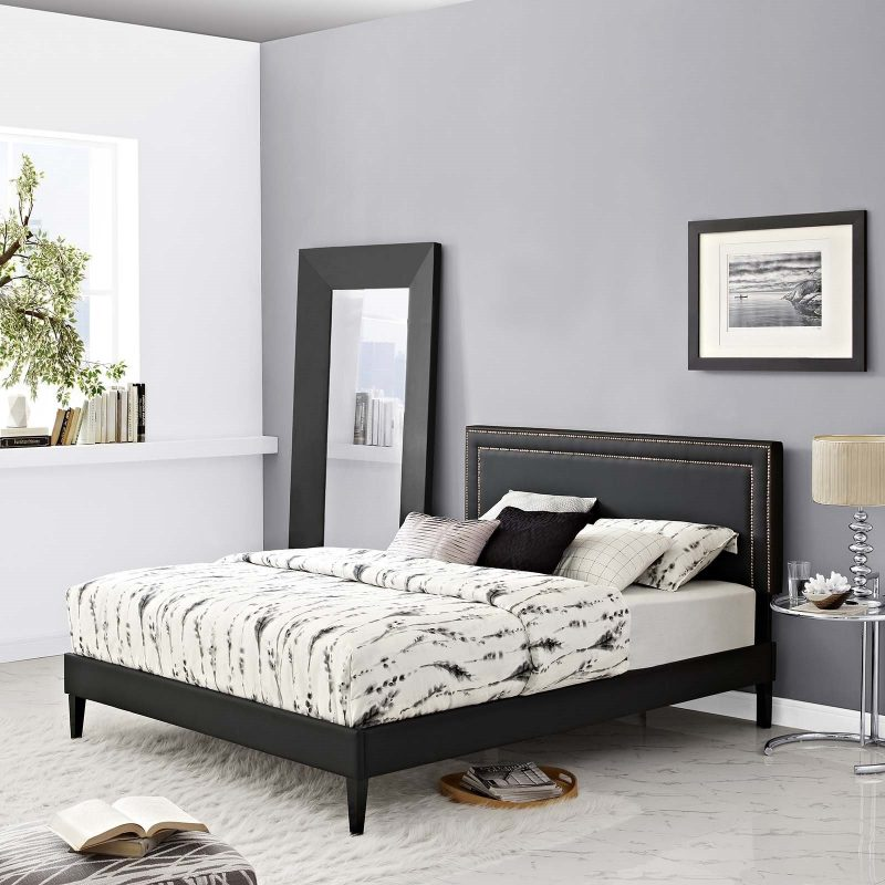 Virginia King Vinyl Platform Bed with Squared Tapered Legs in Black
