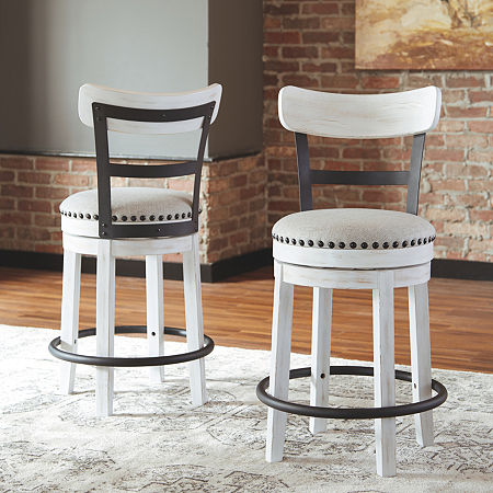 Signature Design by Ashley Valebeck Counter Height Swivel Bar Stool, One Size , White