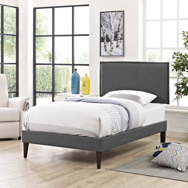Amaris Fabric Platform Bed with Squared Tapered Legs
