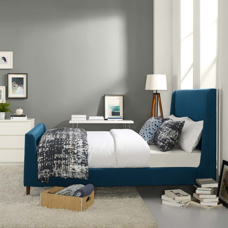 Aubree Upholstered Fabric Sleigh Platform Bed