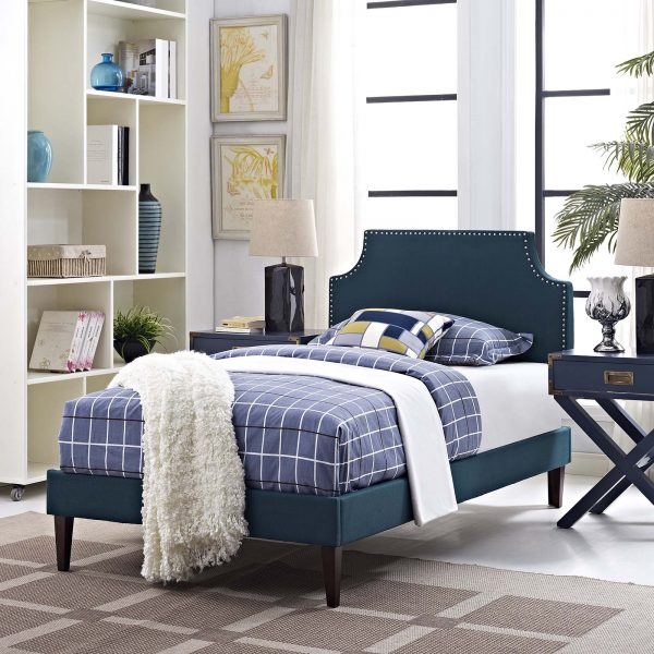 Corene Fabric Platform Bed with Squared Tapered Legs