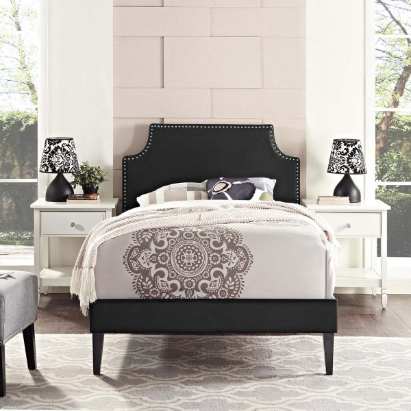 Corene Vinyl Platform Bed with Squared Tapered Legs