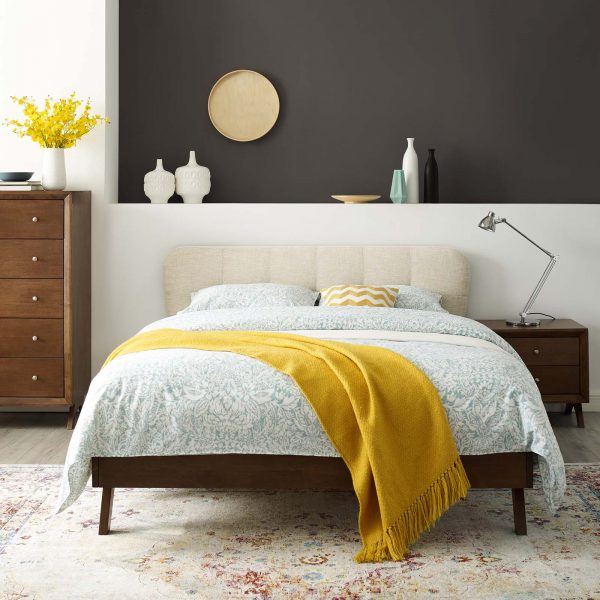 Gianna Upholstered Polyester Fabric Platform Bed