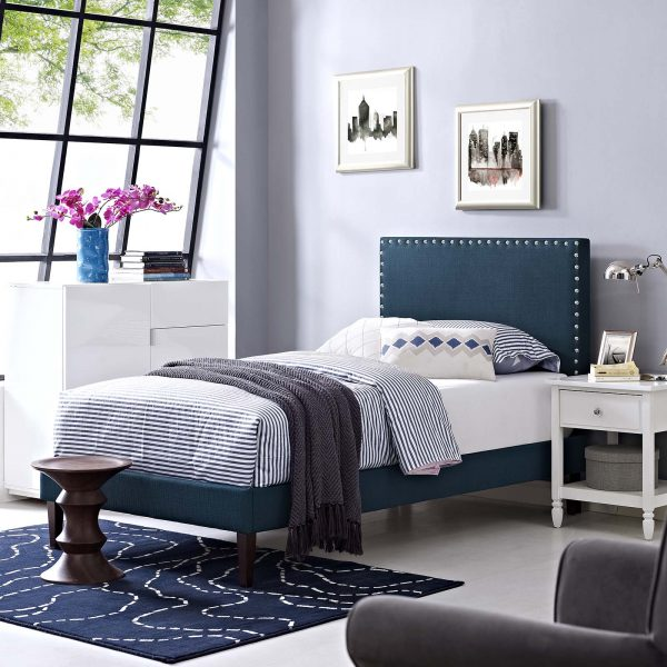 Macie Fabric Platform Bed with Squared Tapered Legs