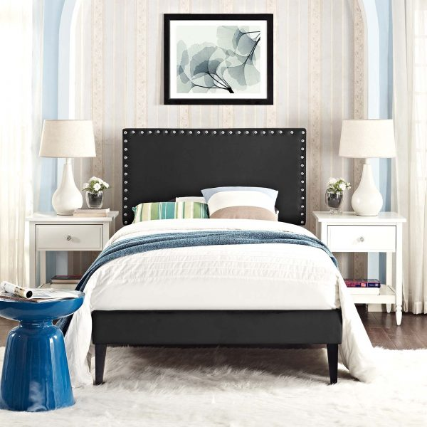 Macie Vinyl Platform Bed with Squared Tapered Legs