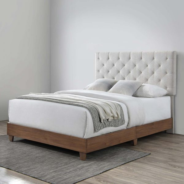 Rhiannon Diamond Tufted Upholstered Fabric Bed