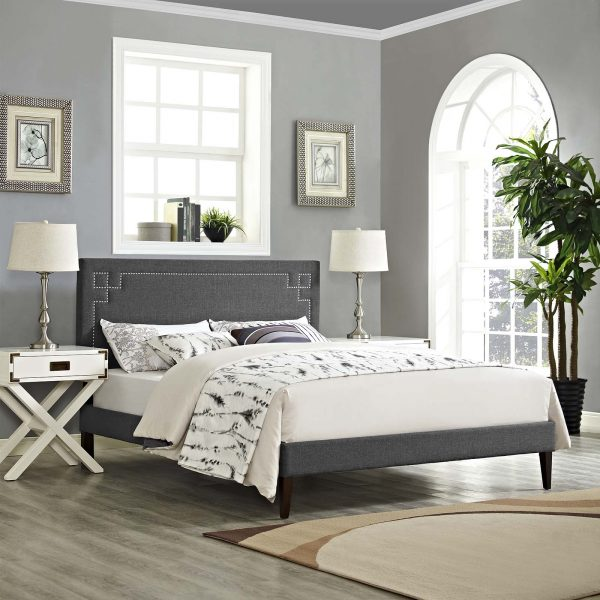 Ruthie Fabric Platform Bed with Squared Tapered Legs
