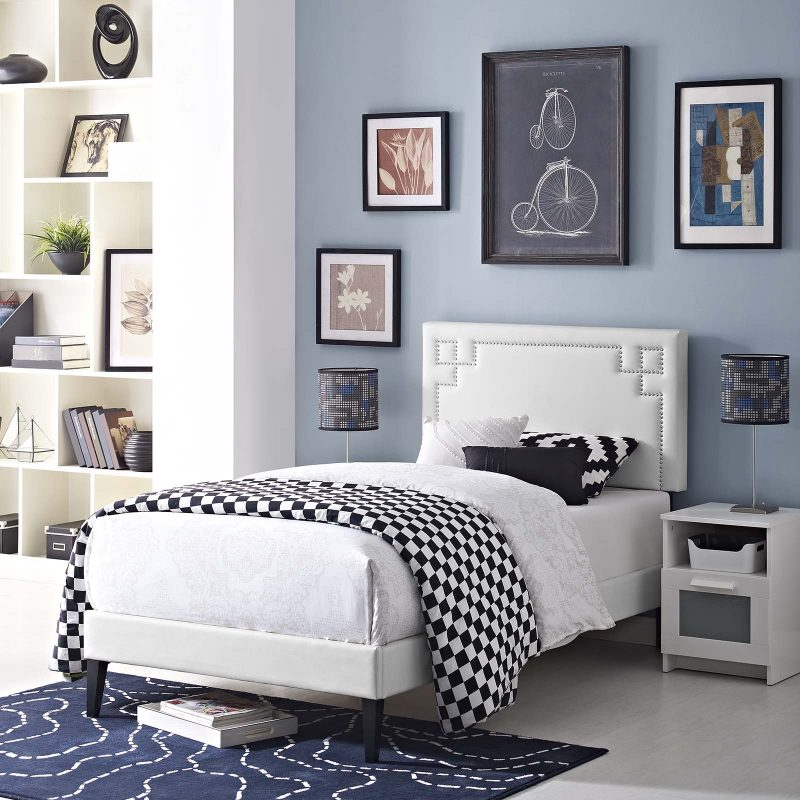 Ruthie Vinyl Platform Bed with Squared Tapered Legs