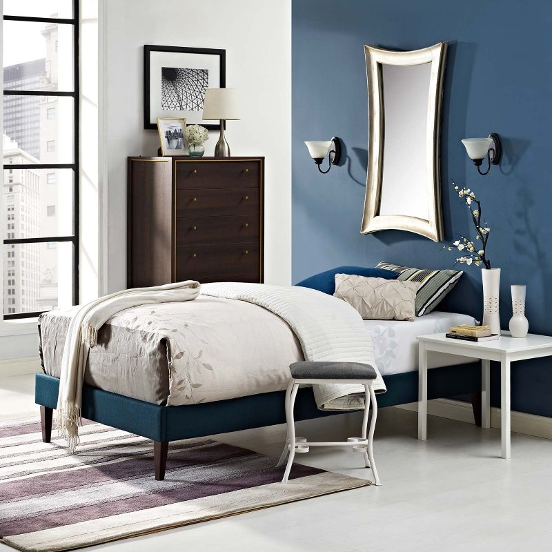 Tessie Fabric Bed Frame with Squared Tapered Legs