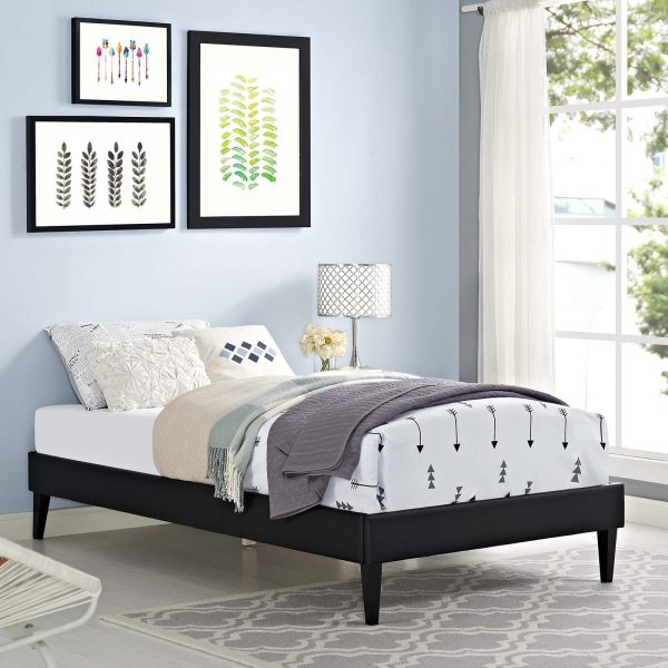 Tessie Vinyl Bed Frame with Squared Tapered Legs