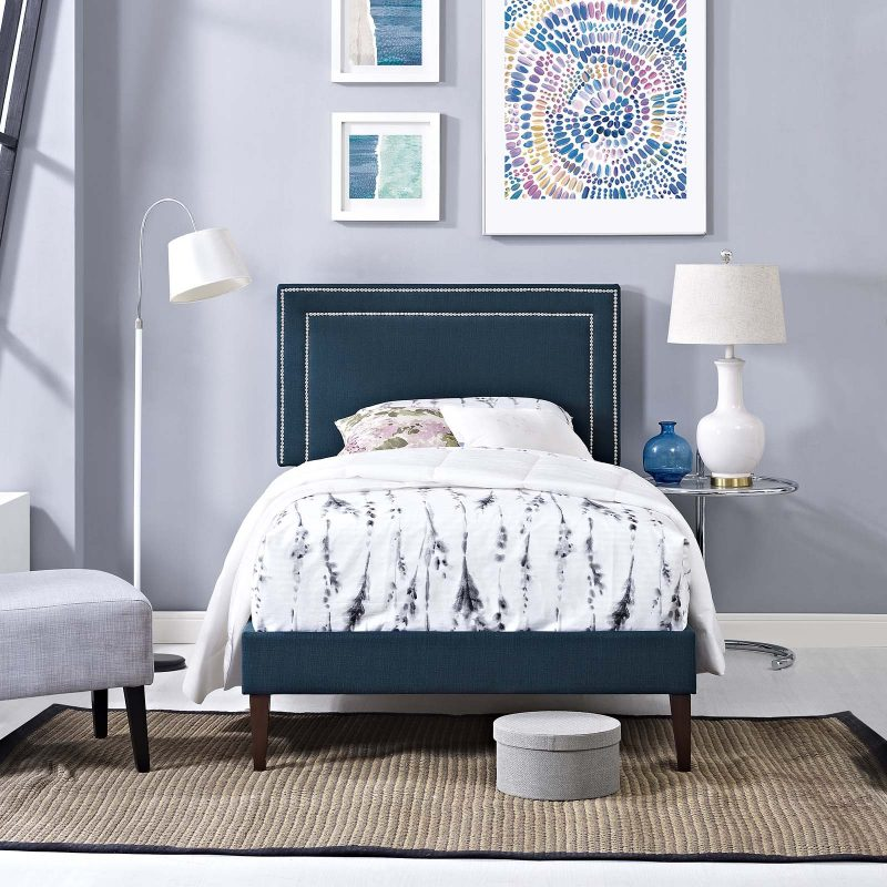 Virginia Fabric Platform Bed with Squared Tapered Legs