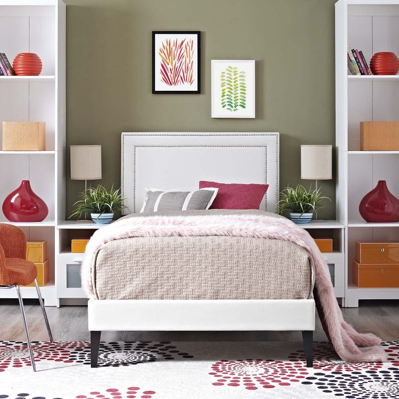 Virginia Vinyl Platform Bed with Squared Tapered Legs