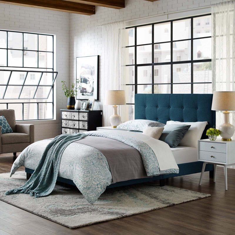 Melanie Tufted Button Upholstered Fabric Platform Bed